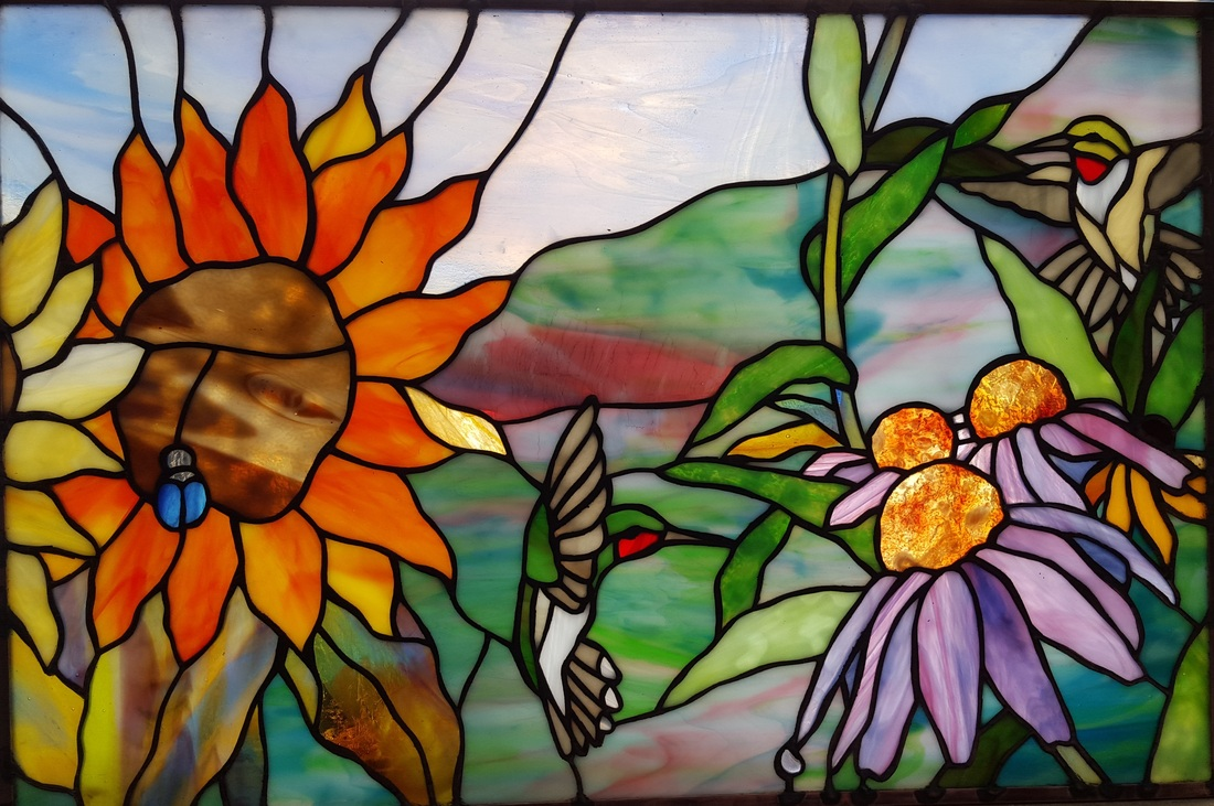 Tom Nelson orignal stained glass design of birds and flowers