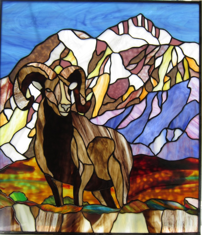 Big horn sheep in stained glass by tom nelson