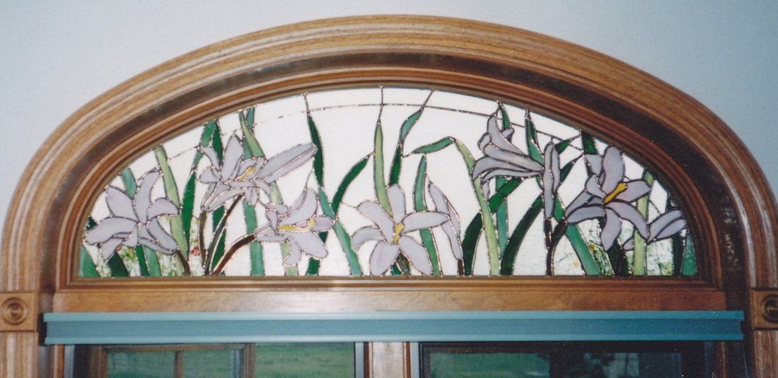 asian lily arch stained glass window