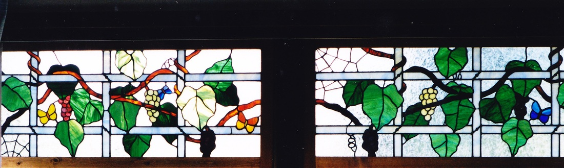 original vine and trellis stained glass design