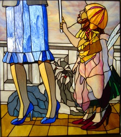 original stained glass design of little girl and her mom playing dress up by Tom Nelson