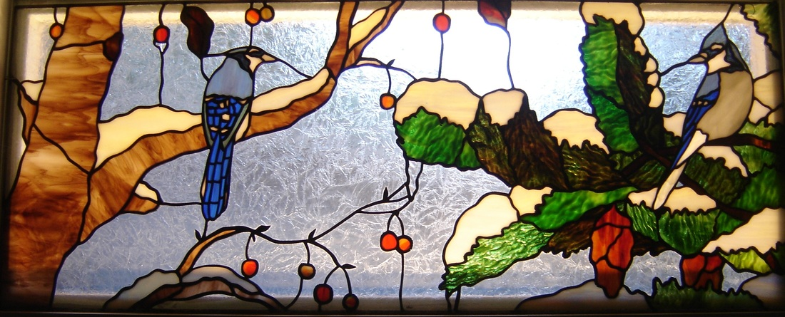 Stained glass birds blue jays