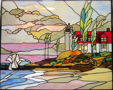 Spectrum Stained Glass design of Point Betsie Lighthouse