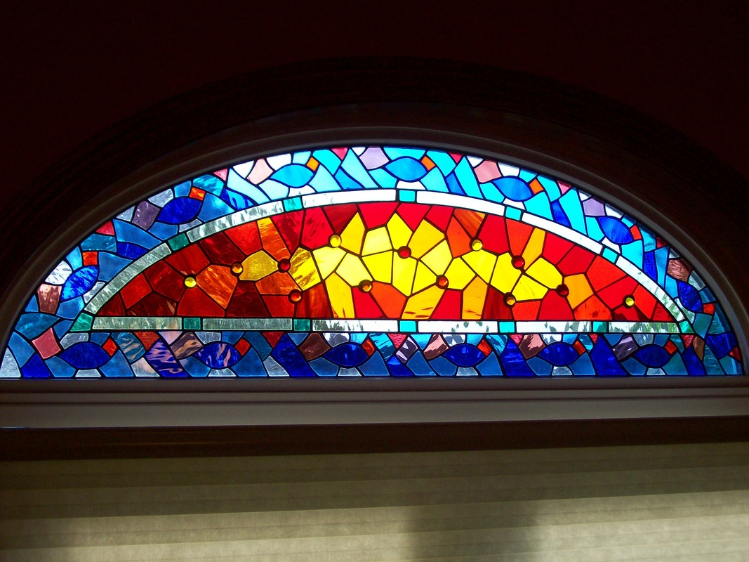 mosiac arch stained glass window