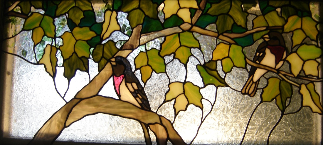 Stained glass birds rose breasted grosbeak