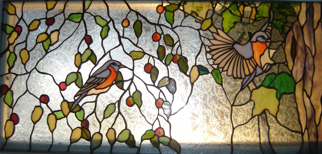 stained glass birds bluebirds