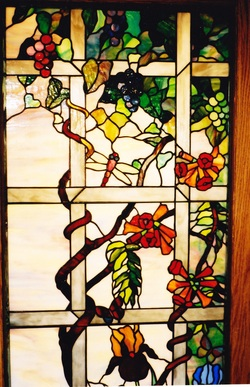 Tiffany replica vines iris stained glass