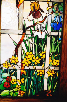 custome spectrum stained glass window iris