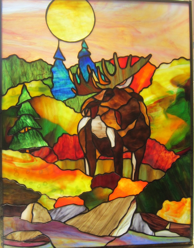stained glass moose by spectrum stained glass studio