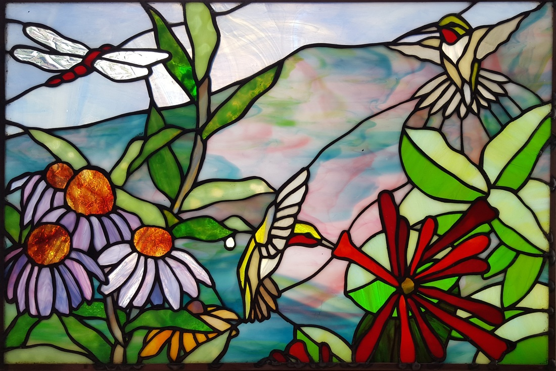 Stained glass birds and flowers original design by Tom Nelson