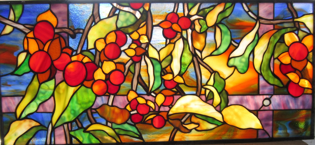 custom stained glass bittersweet vine