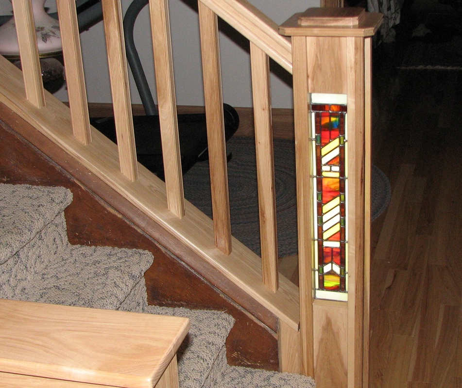 stained glass in stair newel